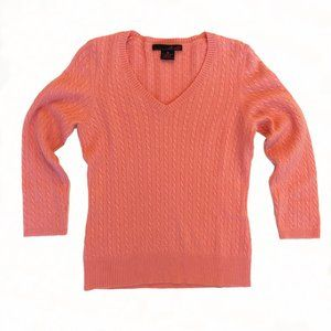 Willi Smith Coral Pink 100% Cashmere Sweater